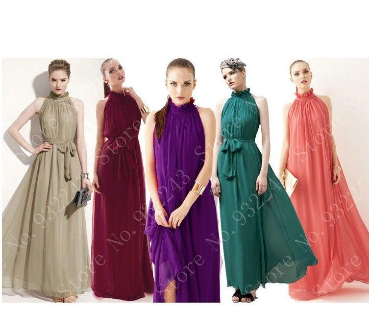2014 New Fashion Slim Fit  Off Shoulder Chiffon Full Lenghth Ruffled Neck Sleeveless Women Girl Lady Dress Evening Dress $17.99