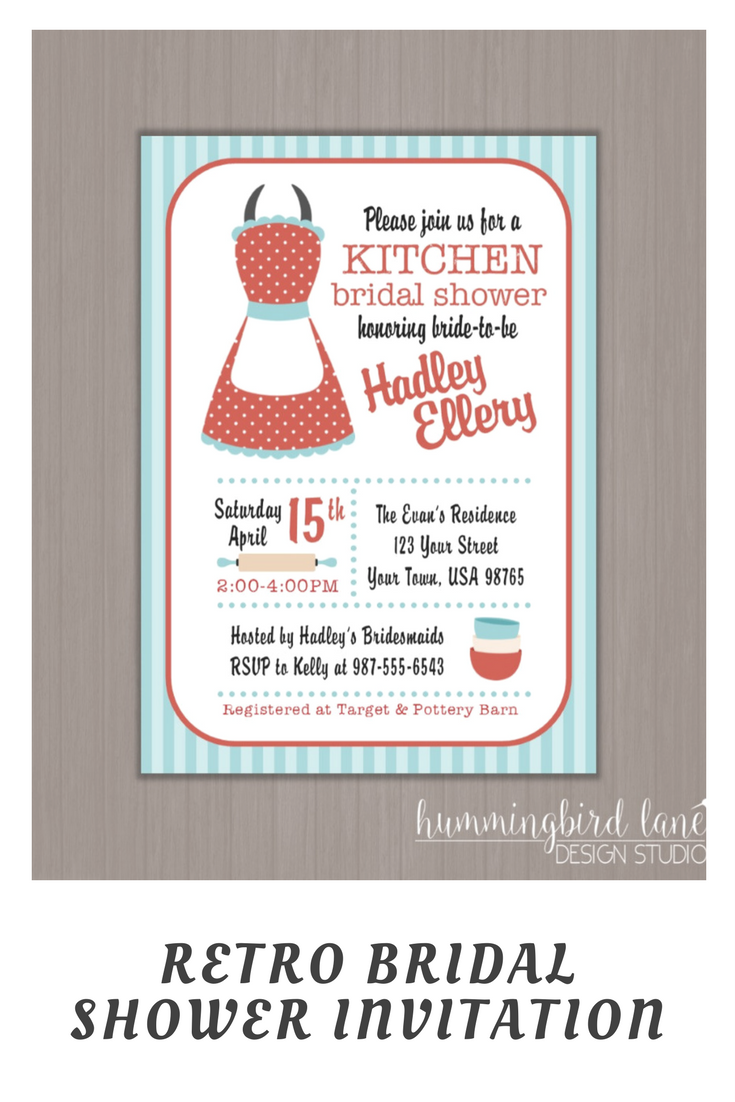 50\'s housewife invitation, kitchen shower invitation, retro kitchen ...