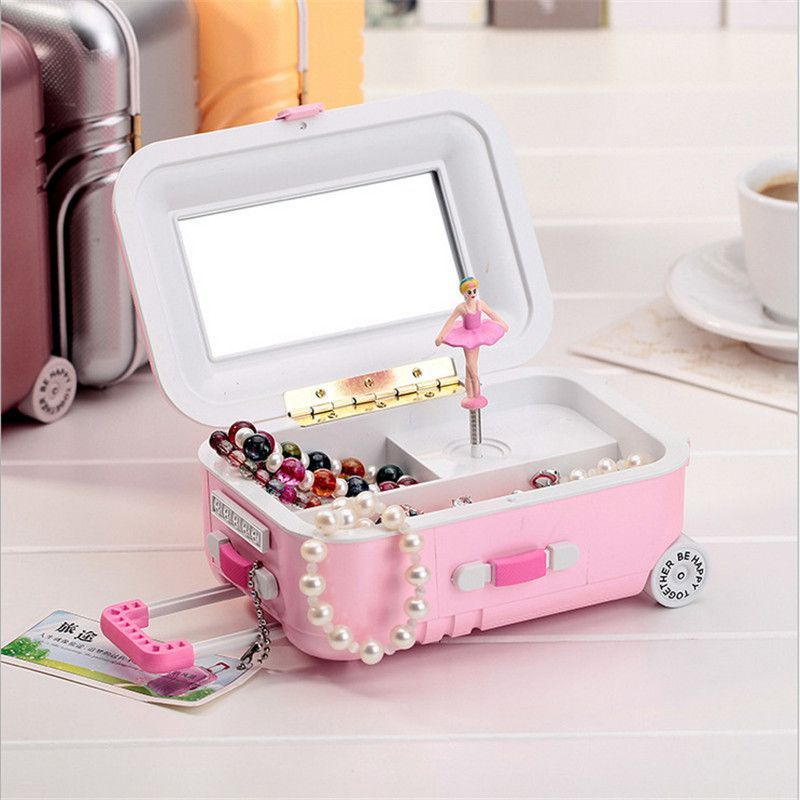 Kawaii Zakka New Trolley Suitcase Music Box Rotating Girl Music Box Jewelry Box Student Gift Home Decoration Accessories