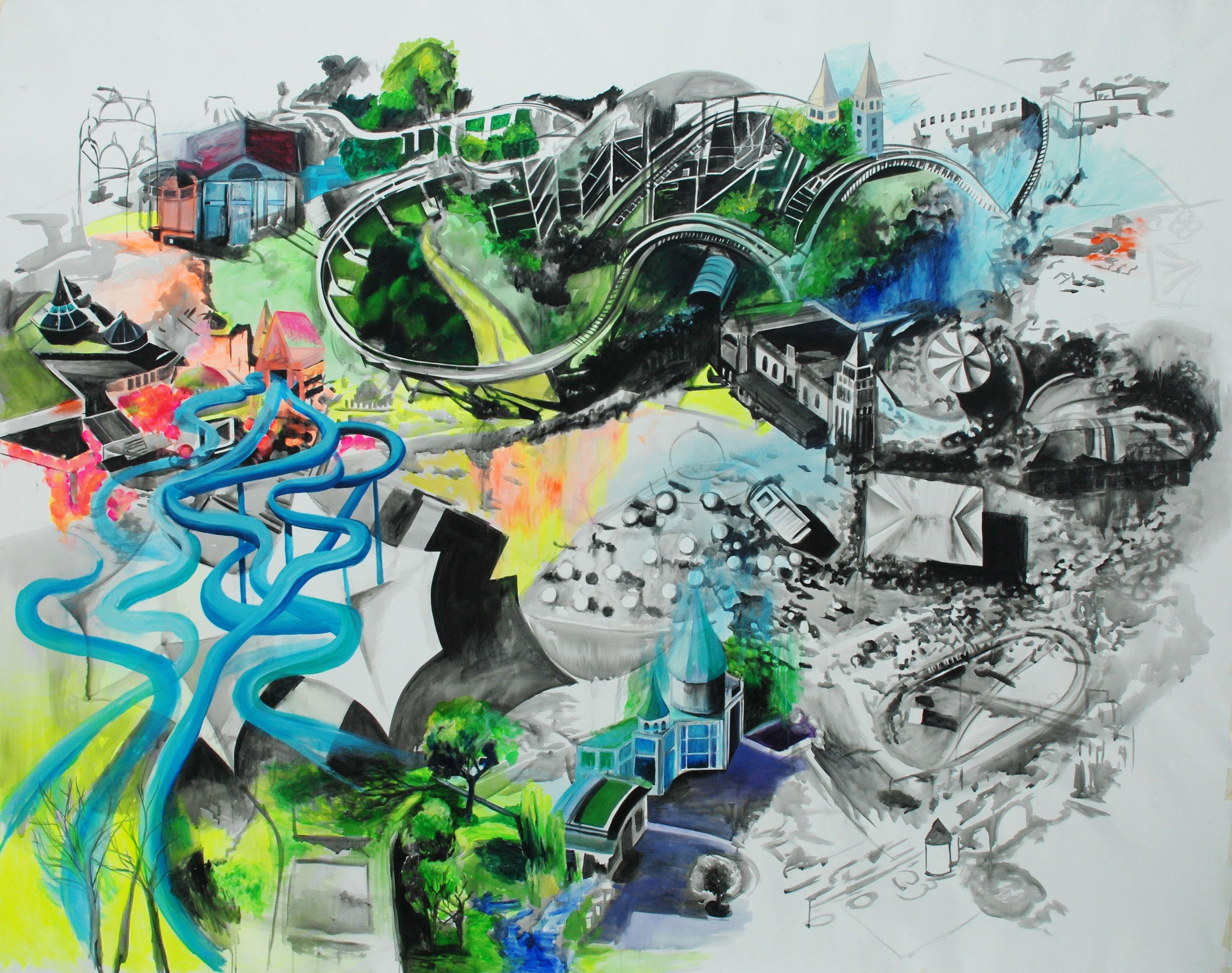 """#Pintura """"Siempre fue y será una fiesta""""  200 x 250 cm  Acrílico sobre canvas  Ana Bregú 2012"""