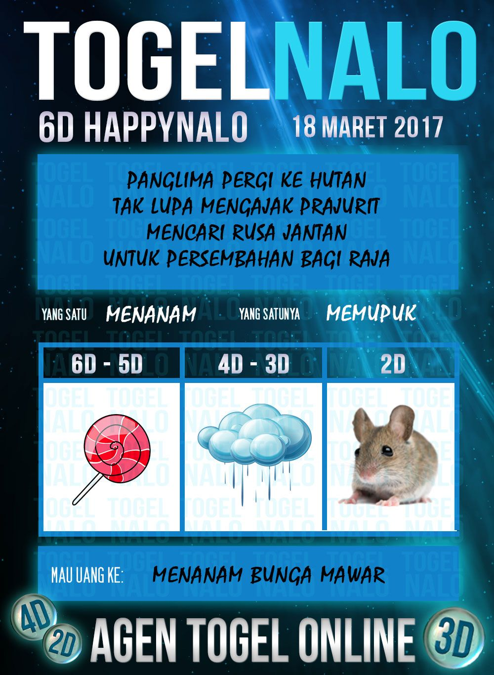 Bocoran 2D Togel Wap Online Kupon HappyNalo Jakarta 18 Maret 2017