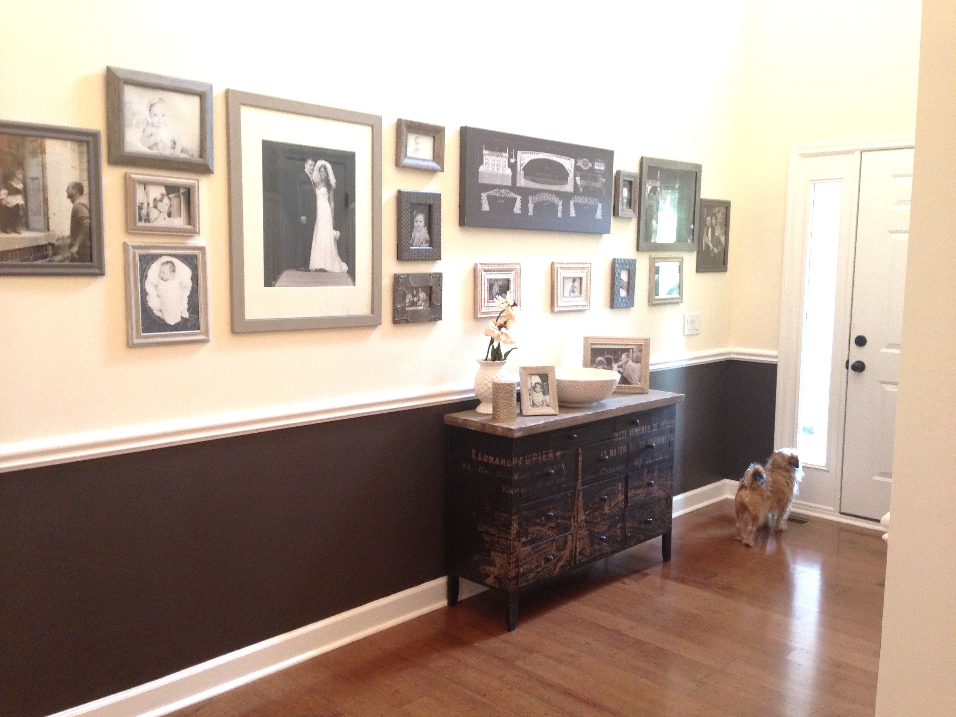Hallway With Chair Rail And Paint Instead Of Wainscoting. Creates A  Dramatic Effect. Gallery Wall.