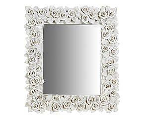 Specchiera da parete in legno Rosie bianco - 40x43x3 cm