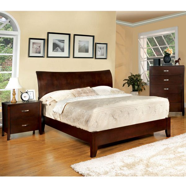 Furniture of America Mellowi Brown Cherry Flared Platform Bed | Home ...