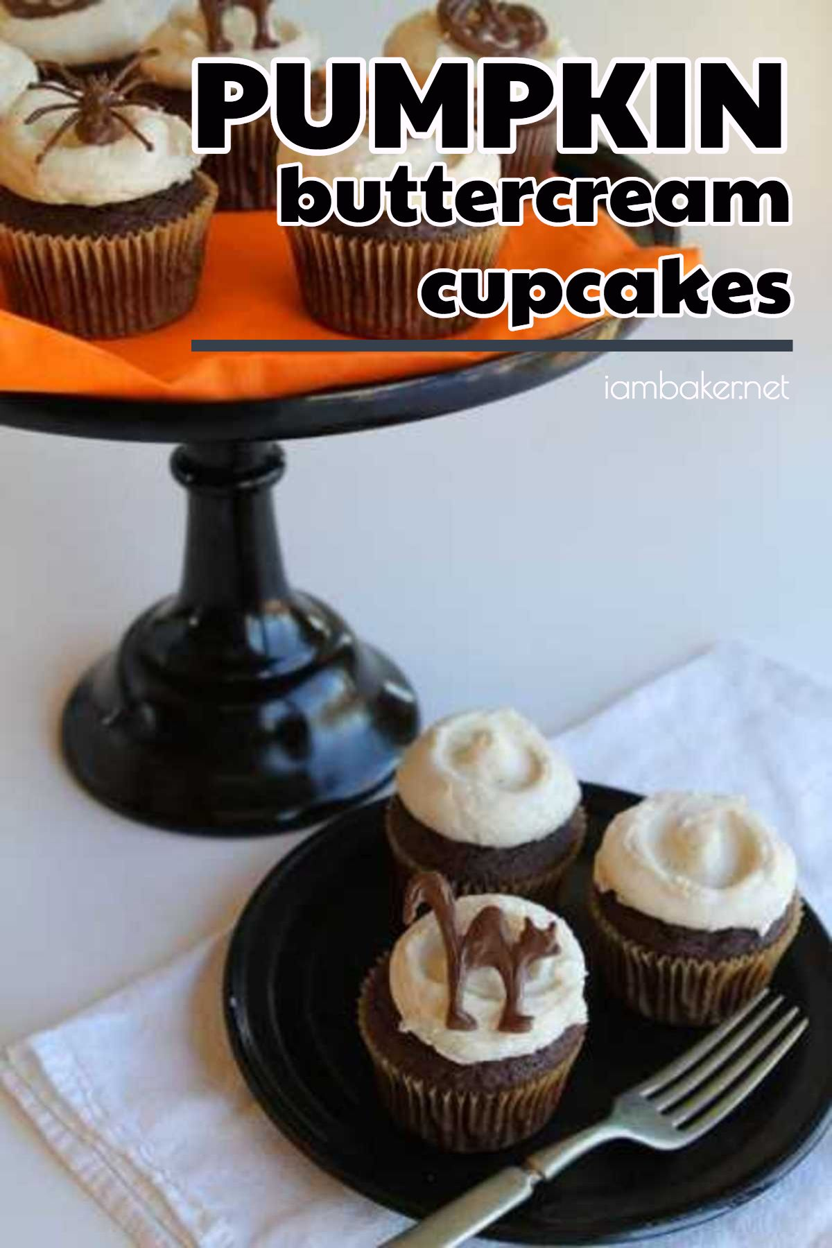 looking for halloween inspired cupcakes make these pumpkin buttercream cupcakes with chocolate halloween toppers