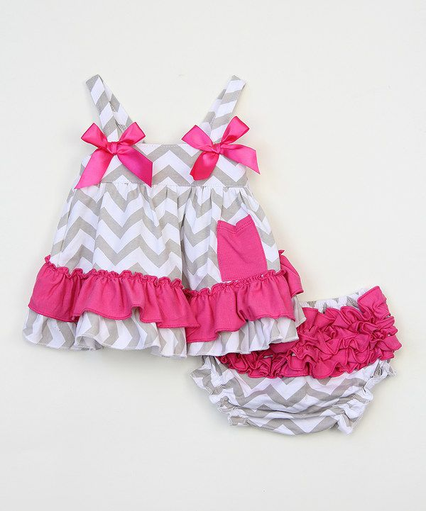 Look at this Gray & Fuchsia Chevron Swing Top & Diaper Cover - Infant on #zulily today!