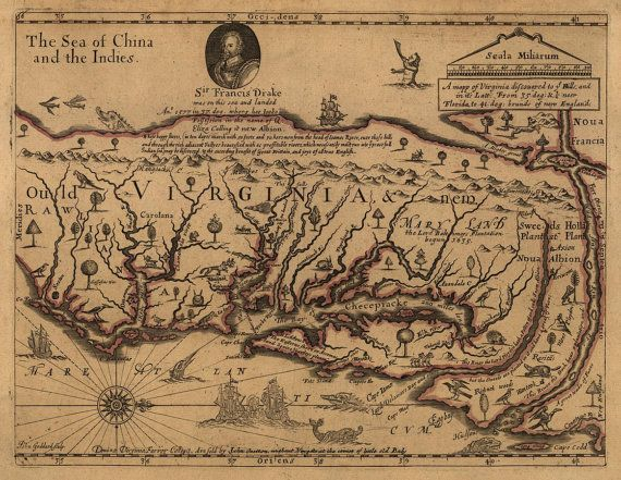 Antique Map Of Virginia 1667 Sir Francis Drake Virginia Map Map