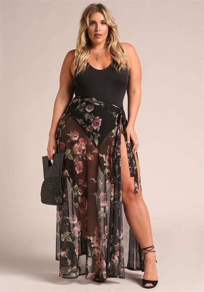 Plus Size Clothing Plus Size Floral Cover Up Mesh Maxi Skirt Debshops Plus Size Swimwear Fashion Plus Size Outfits