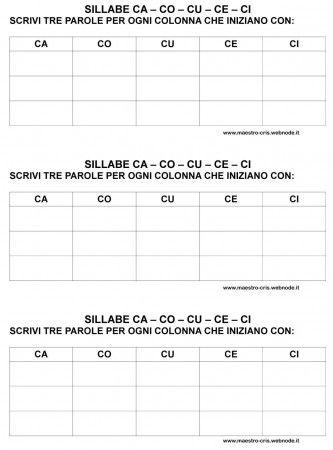 Scrivi Parole Con Ca Co Cu Ci Ce Classe Prima Schede Didattiche