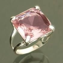 Anel De Prata 925 De Lei Com Cristal Rosa Feminino