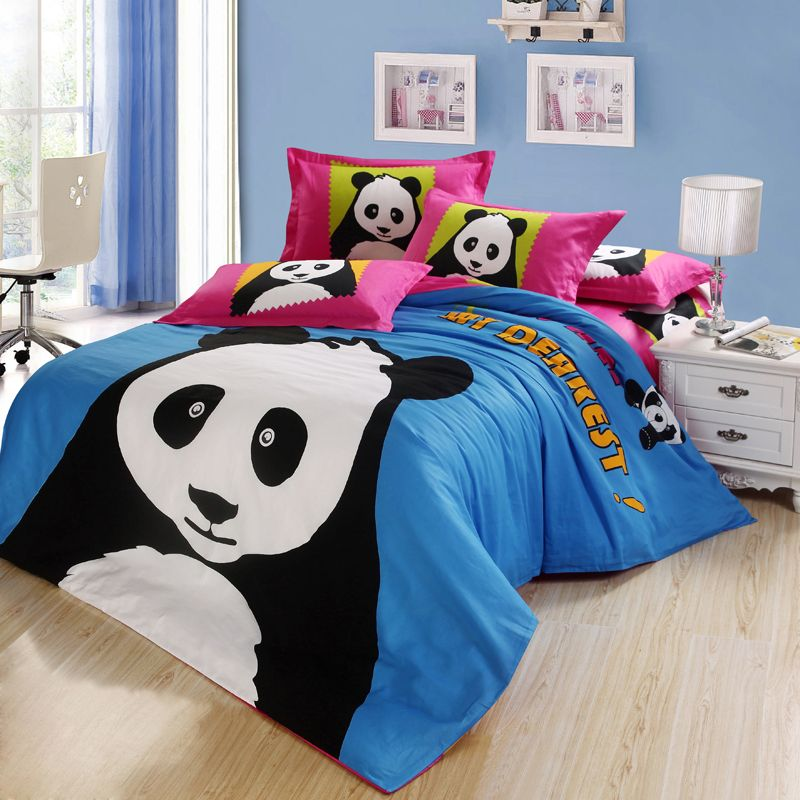 Panda Bear Bedding Set 5pcs 100 Cotton Bed Sets King