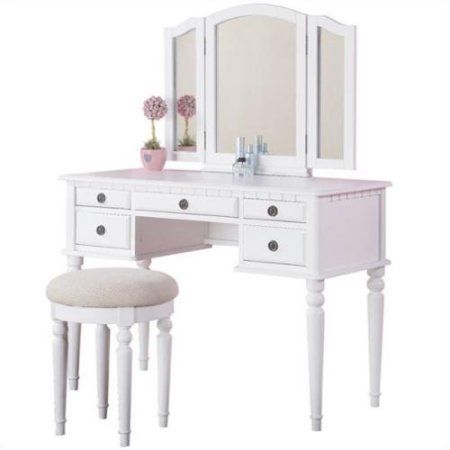 poundex bobkona st croix vanity set with stool in white walmart com