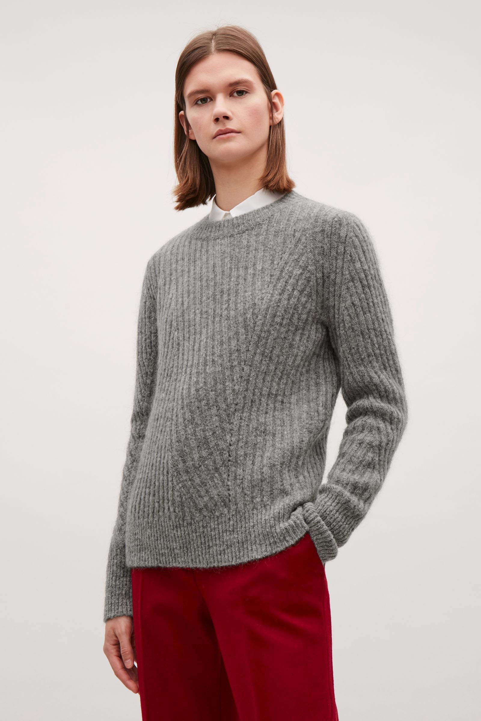 COS image 2 of Wool mohair ribbed jumper in Grey in 2019