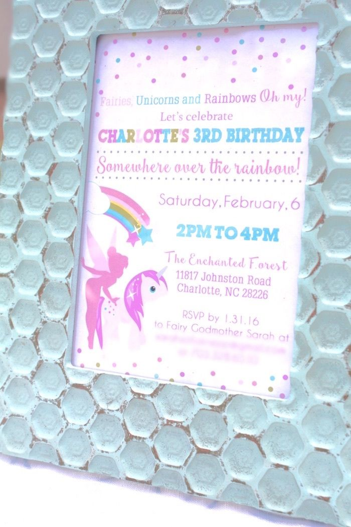 Invitation From A Magical Unicorns Fairies Rainbows Birthday Party On Karas Ideas
