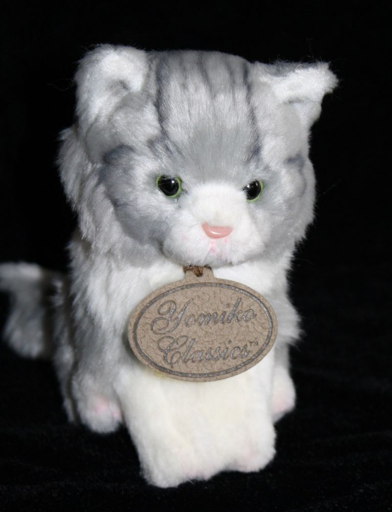Russ Berrie Yomiko Grey Tabby Cat Stuffed Baby Gray Kitten Plush