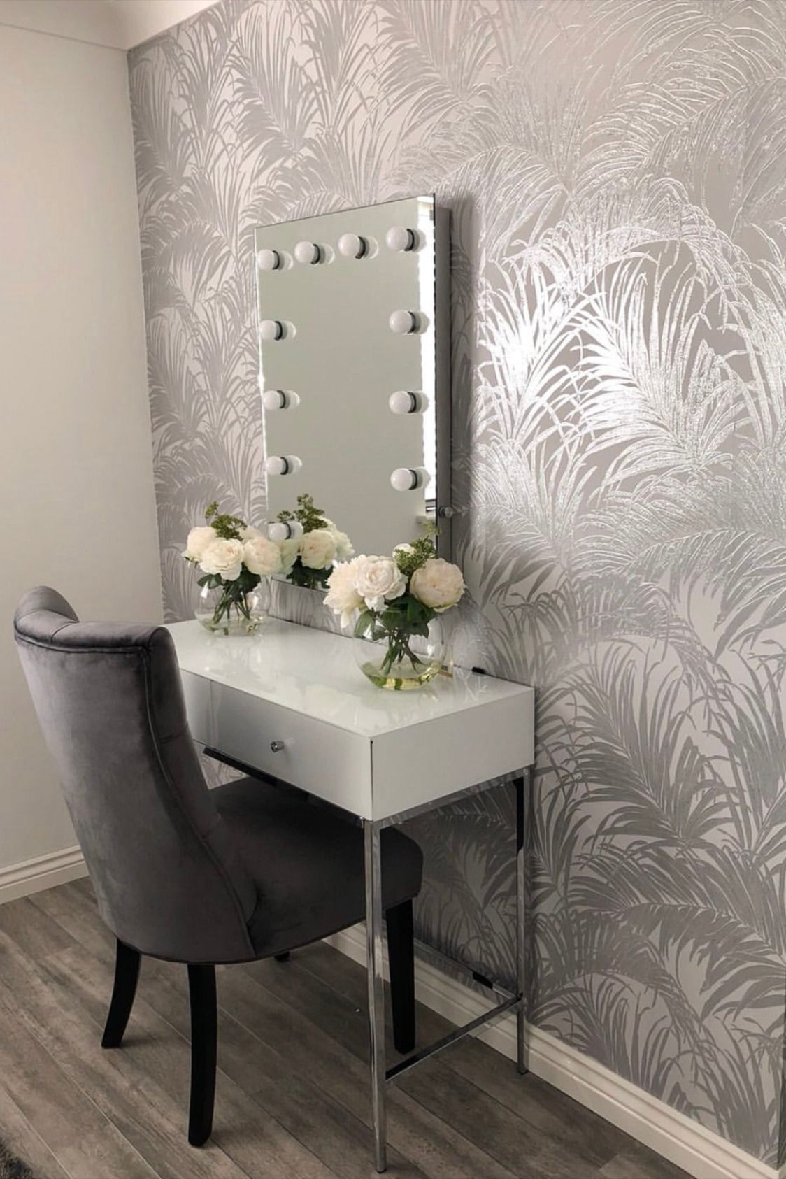 Sapphire Palm Leaf Wallpaper Grey Silver in 2020 Palm