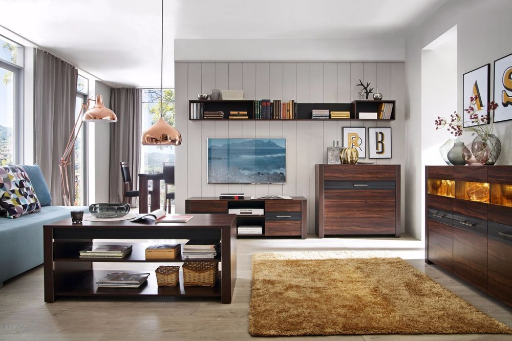 Living Room Furniture Wood Effect With Lighted Tv Stand