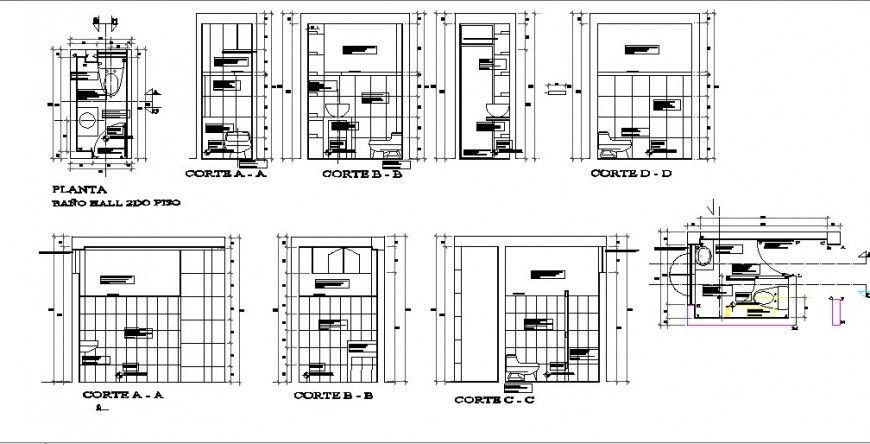 All sided section, plan and installation details of sanitary