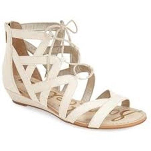 53582f870 Sam Edelman DAWSON Sandal 8.5 M Ankle Strap Strappy Cream Flats Gladiator   SamEdelman  Gladiator  Any