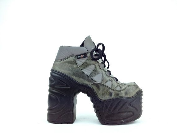 90's DESTROY Platform Chunky Sculptural Heel Cyber Ankle Boots // 9 by FeelingVagueVintage, $126.00