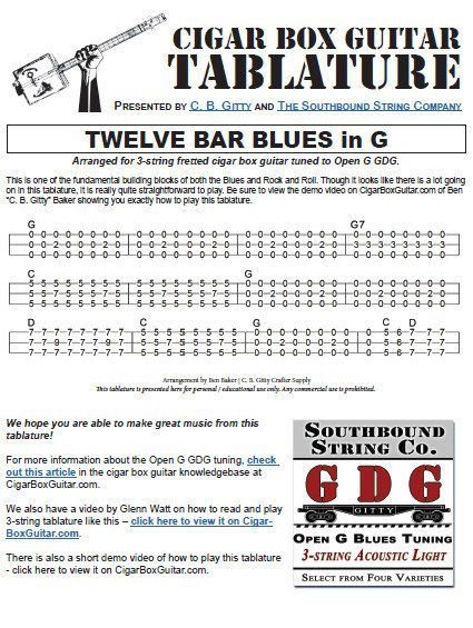 12 Bar Blues inG Cigar Box Guitar Tablature PDF | cigar box gee tar