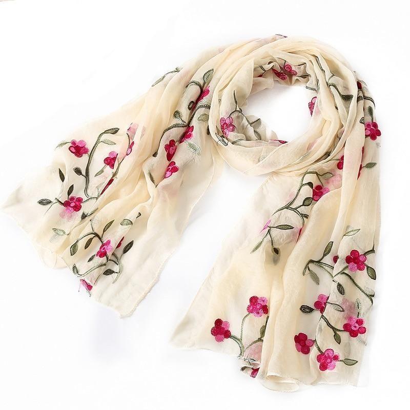 Women Fashion Embroidery Scarf Hijab Wrap Crochet Flower Soft Scarves Khaki