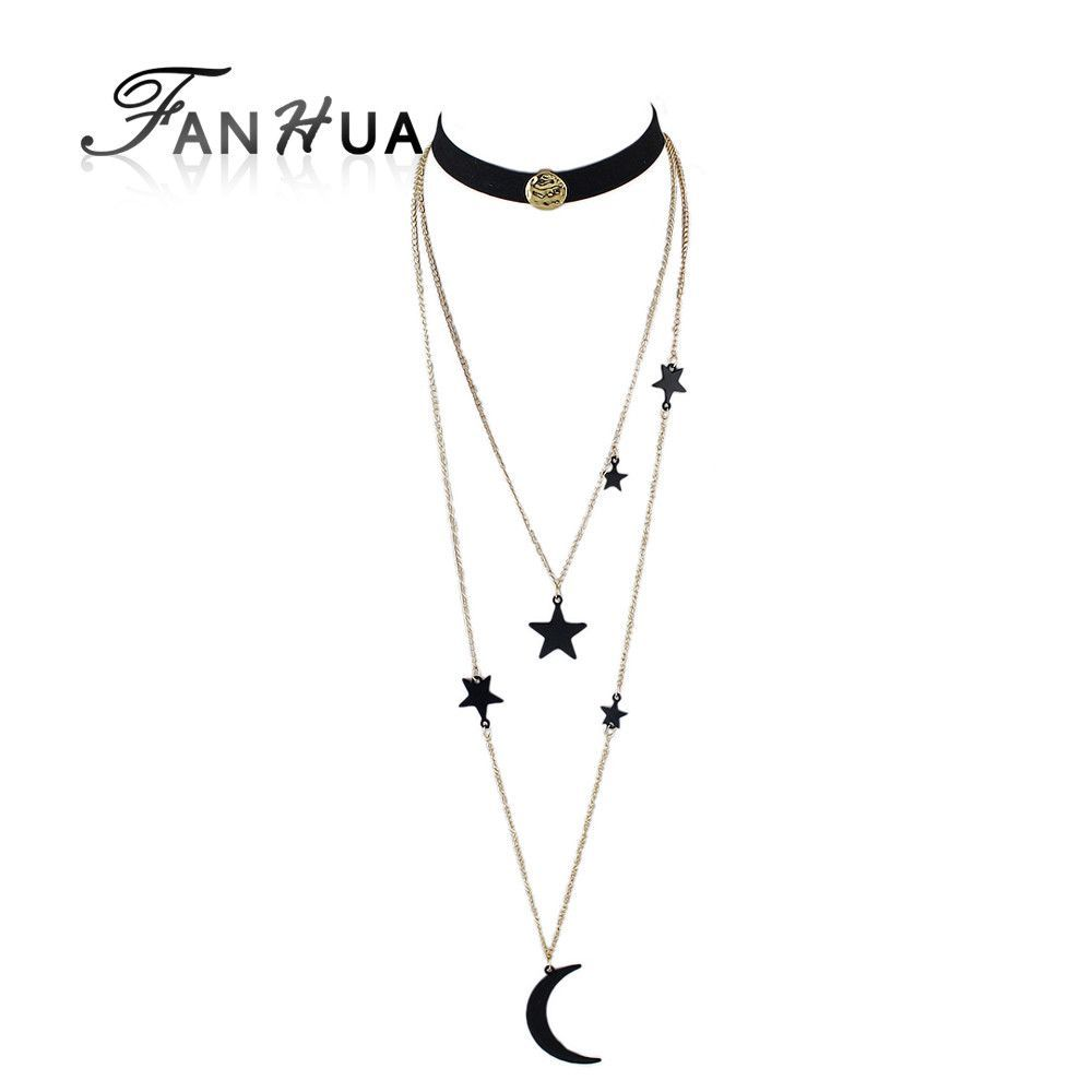Fanhua pcsset steampunk black suede fabric gothic choker long gold