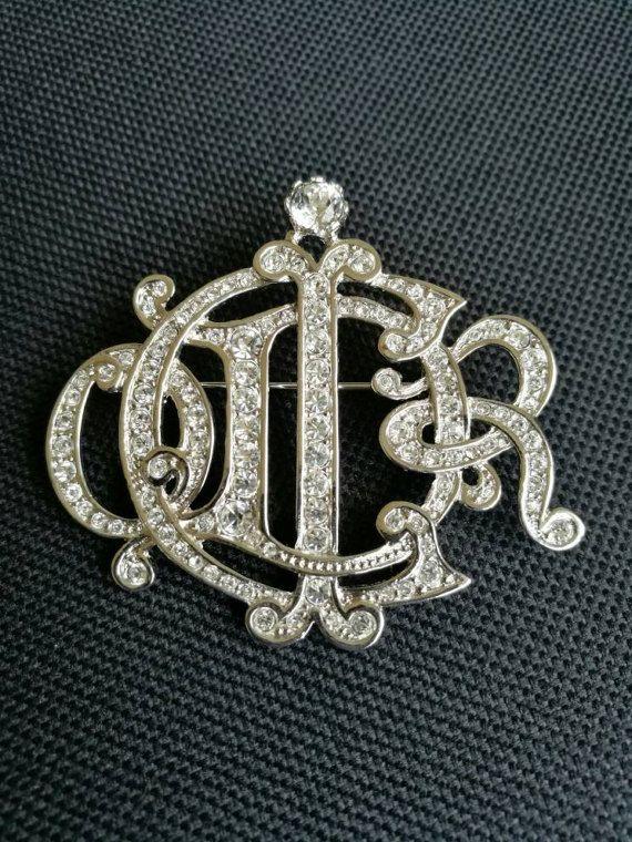 deffc9fd1 Christian Dior Silver plated & Rhinestone Dior Monogram Logo Script ...