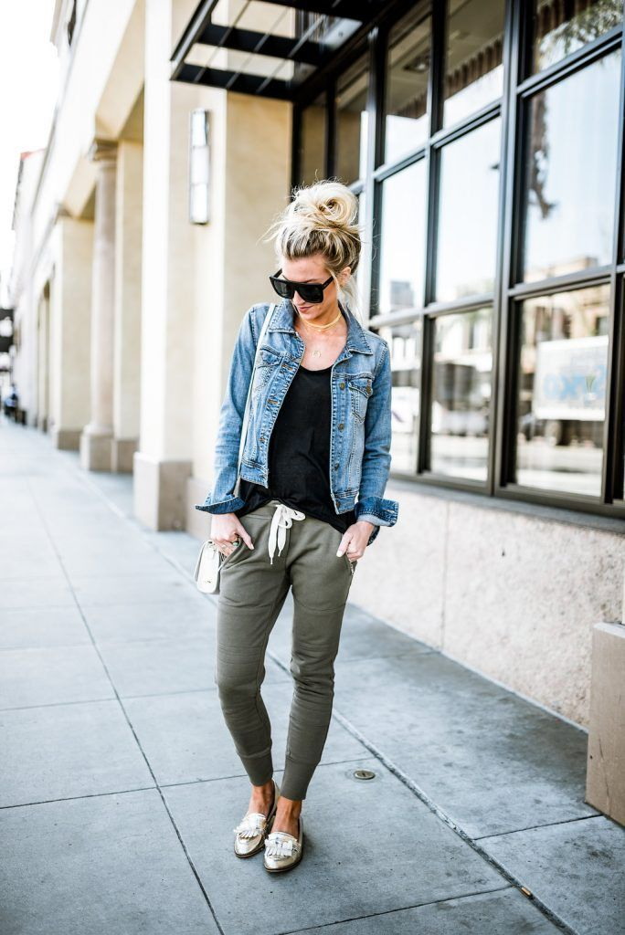 Denim Jacket And Joggers Joggers Outfit Athleisure Outfits Denim Jacket Outfit