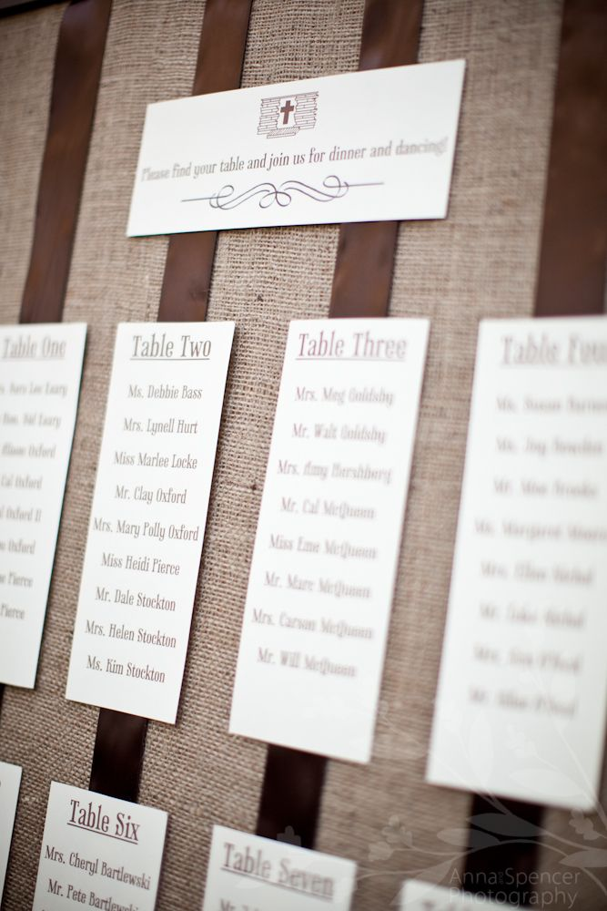 inviting for wedding words%0A Anna and Spencer Photography  Anna and Spencer Photography  Burlap wedding  seating assignments  Place