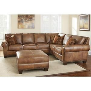 Silverado Leather Sectional In Caramel Brown Nebraska