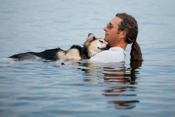Un perro de 19 años acunado en los brazos de su padre anoche en el Lago Superior. Schoep se duerme cada noche cuando lo sumergen en el lago. La suavidad del agua alivia sus huesos artríticos