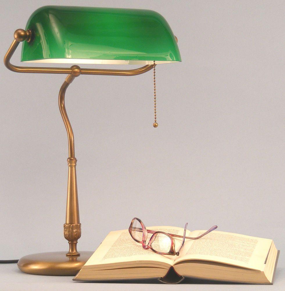 Lampe Bureau De Banquier Notaire Bibliotheque De Table Laiton Opaline Verte 49c In Maison Luminaires Lampes Ebay