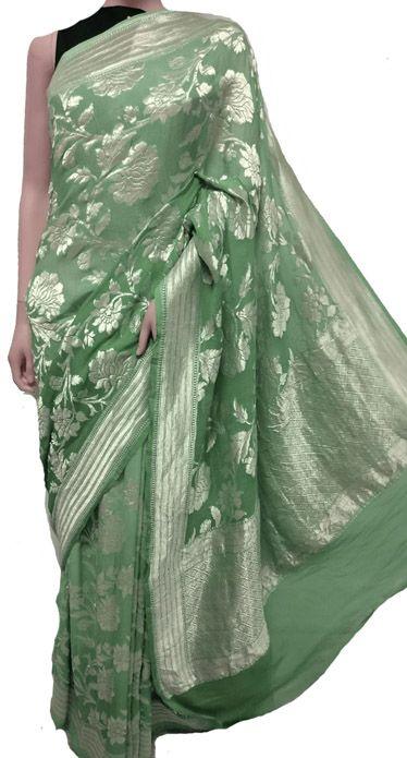 saree dress Indian saree wedding saree sari designer saree traditional saree saris Green Premium Georrgte saree and blouse for women