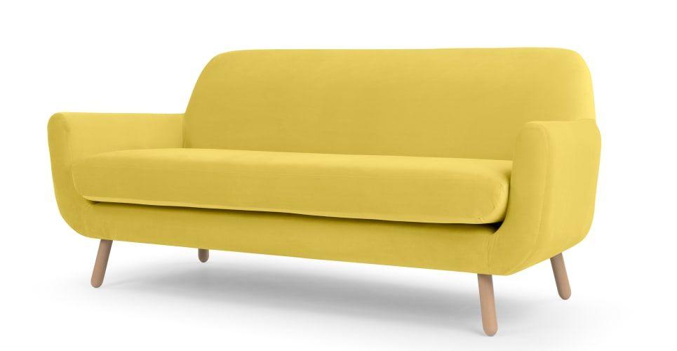 Jonah 3 Sitzer Sofa Samt In Gelb Mit Bildern 3 Sitzer Sofa