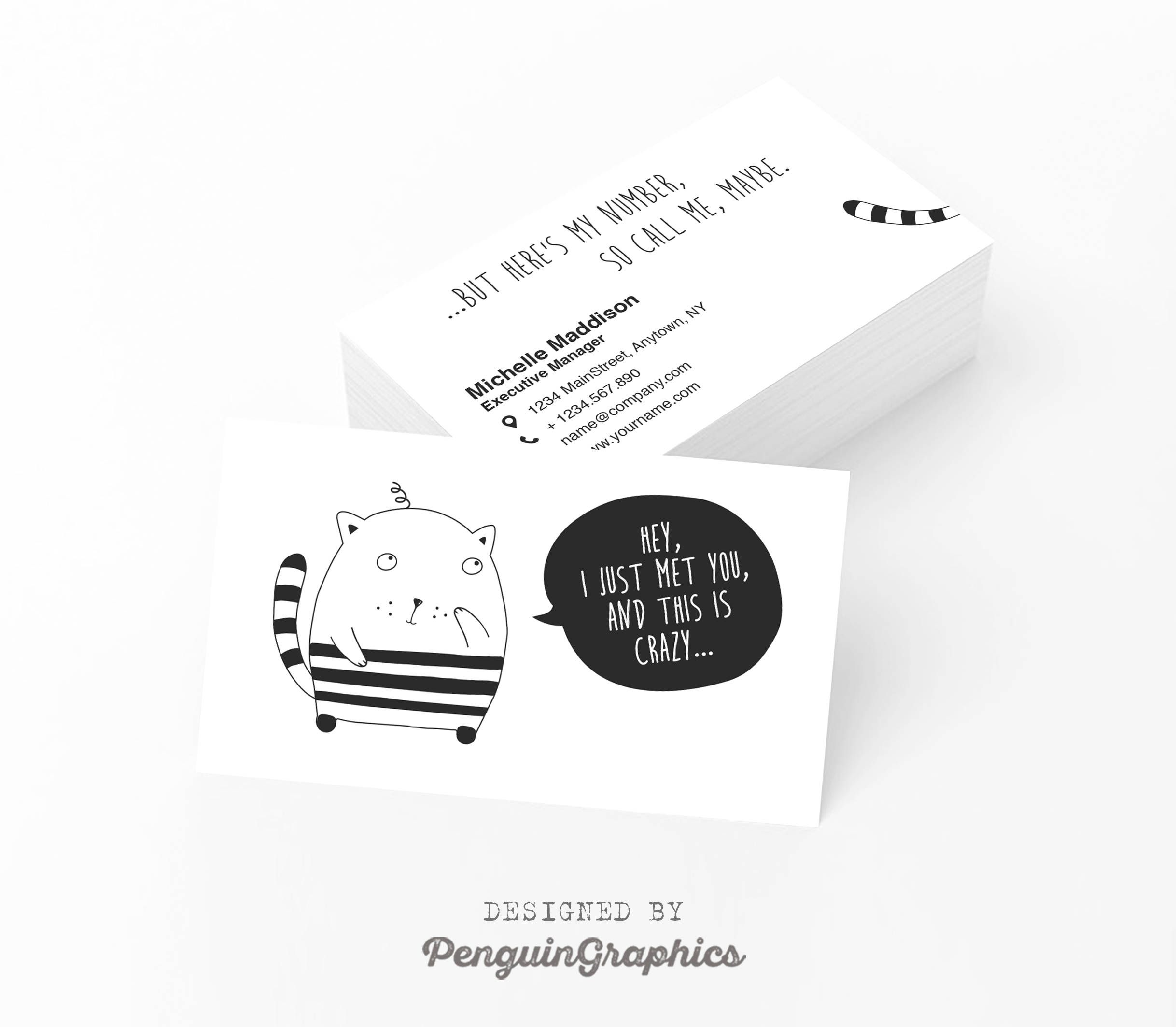 Funny business card. Business card design. Custom contact card ...