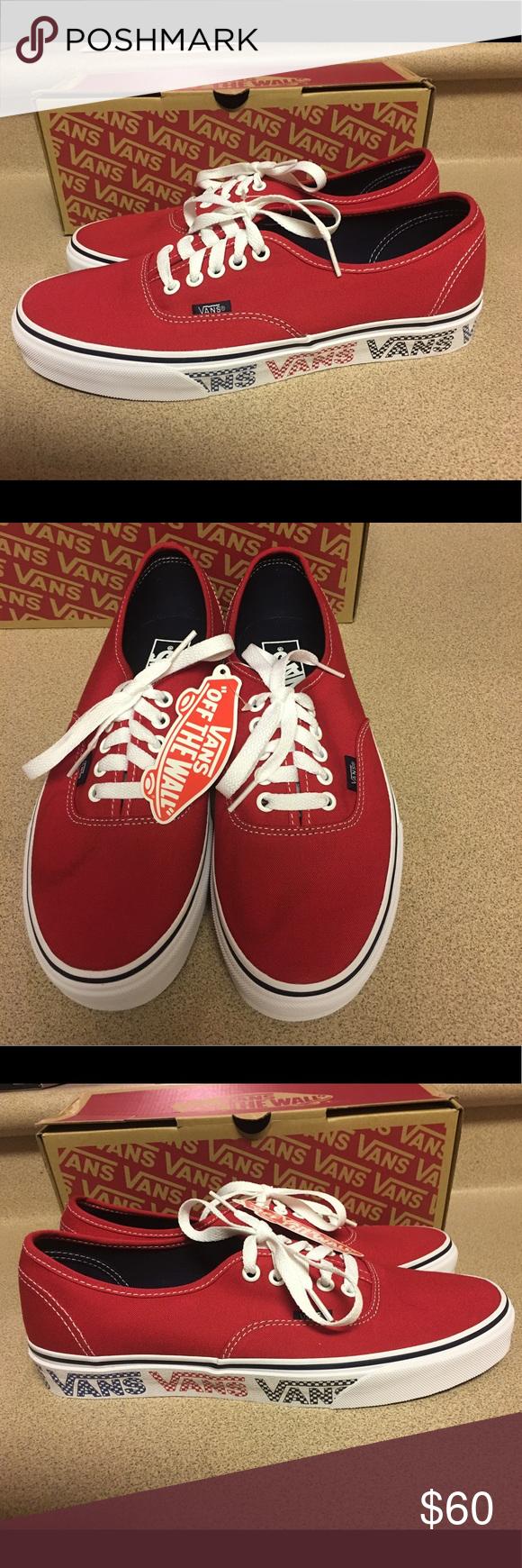 d752e0aad0a9 Vans (Vans Checker Tape) Dress Red Size 8.5 Men s Vans Authentic (Vans  Checker Tape) Dress Red NIB Size US 8.5 Men s VN0A38EMMQO Vans Shoes  Sneakers