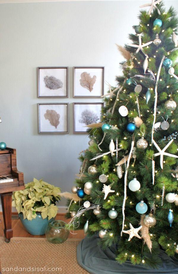 Coastal Christmas Tree Sand And Sisal Holiday Christmas Tree Coastal Christmas Coastal Christmas Tree