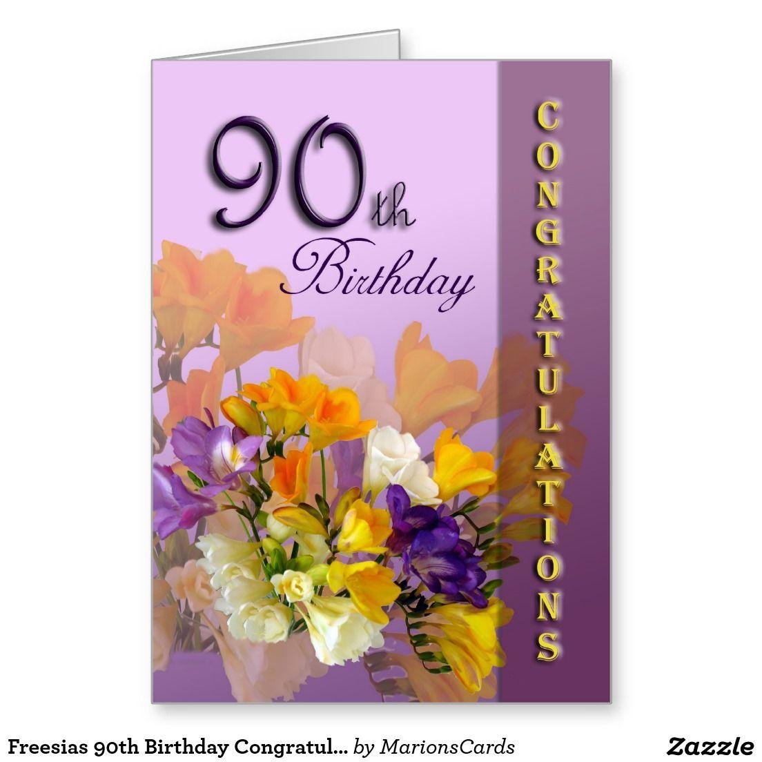 Freesias 90th Birthday Congratulations Card