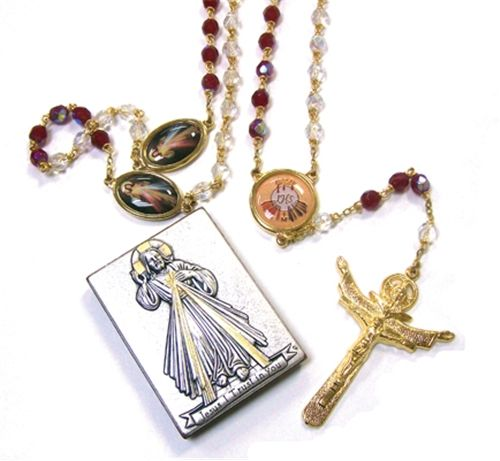 Crystal Divine Mercy Rosary with Silver Keepsake Frame