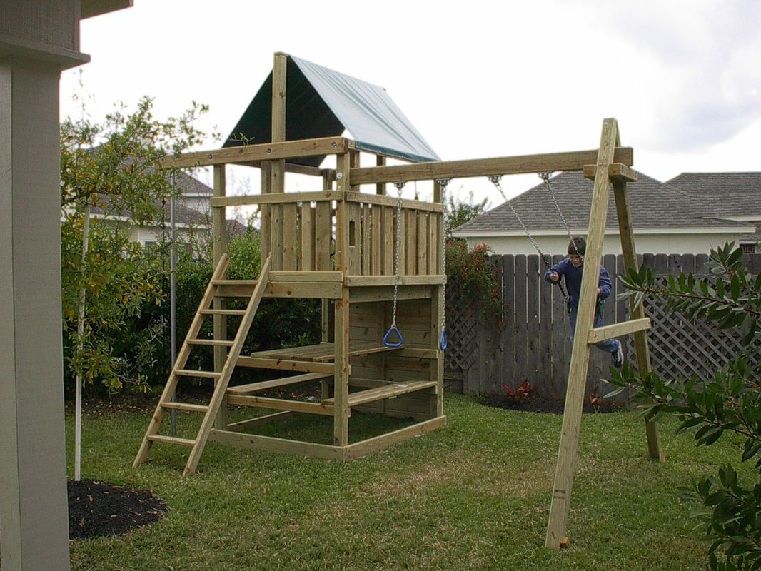 Picnic Table And Benches Underneath Playset Pergola Swing Set