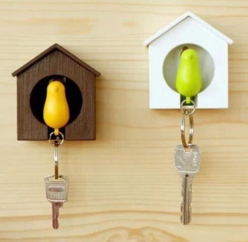 1set Kawaii Whistle Bird House keychain Key Chain Wall Mount Hook ...