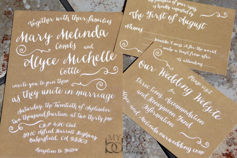 Trendy Typography Wedding Invitation Suite with Kraft paper