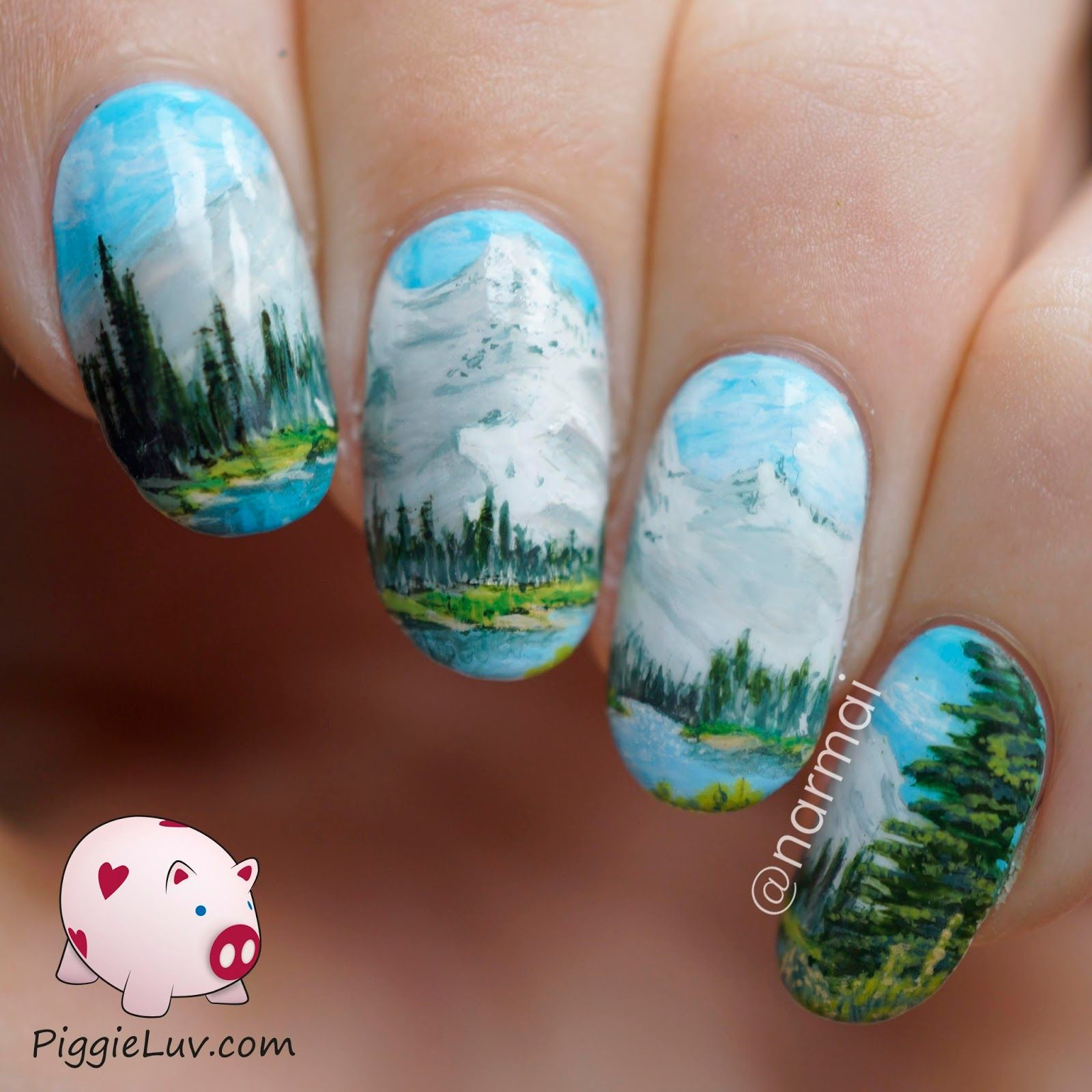 Nail Art Inspired By A Bob Ross Painting
