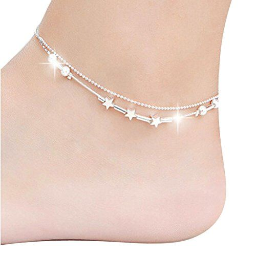 Sterling Silver 925 Bracelet Pour Femmes Bracelet Pied Bijoux Bracelets de cheville Leg chaîne