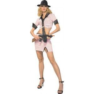 Déguisement gangster femme miss Bonny sexy, Déguisement gangster femme rose à rayures noires avec chapeau gangster, années 20-30, Chicago, fêtes.