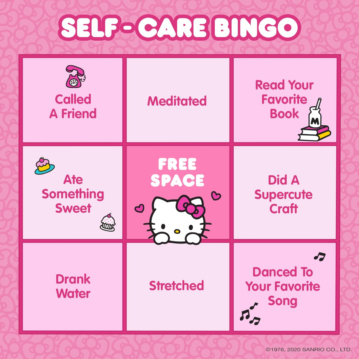 Hello Kitty Self Care Bingo In 2020 Daddy S Little Girl Quotes Little Girl Quotes Cute Messages