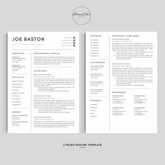 Professional Resume Template Bundle Cover Letter Cv: Modern & Professional Resume Template