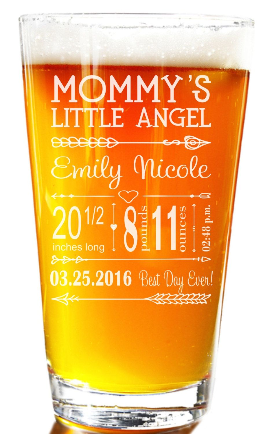 New Baby Gift, New Mom Gift, Mom Pint Glass, Birth Announcement ...