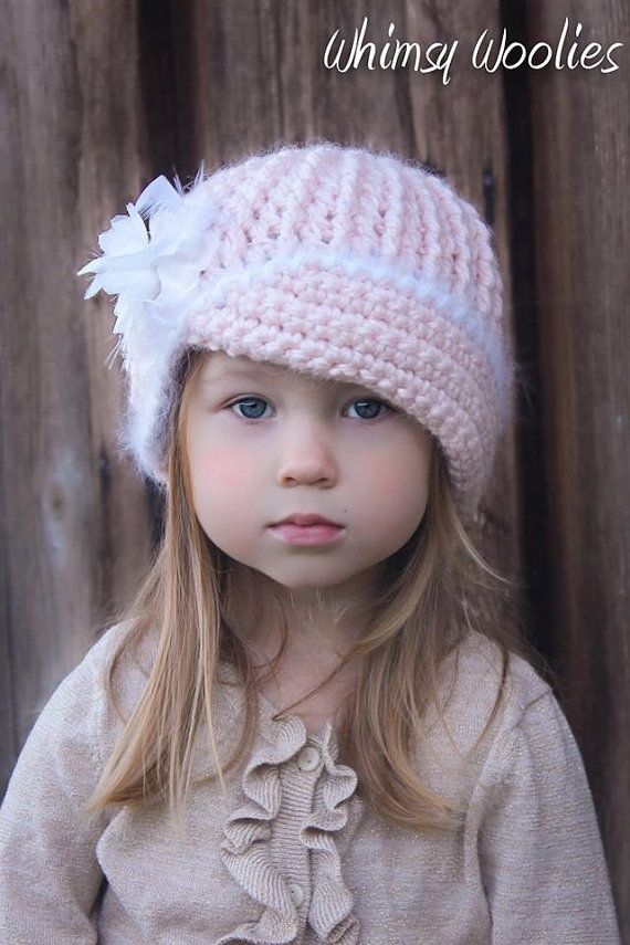 Crochet Pattern: \'Vintage Twist\', Crochet hat, with Flower, 0-3mo, 6 ...